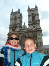 Rachel and Jonathan in front of Westminster Abbey