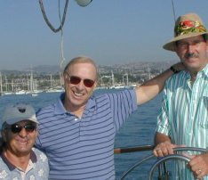 Jim with friends on boat