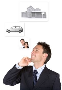 Man Daydreaming of Girl Friend Car and House